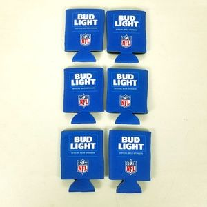 6 Bud Light NFL Football Beer Can Coozie